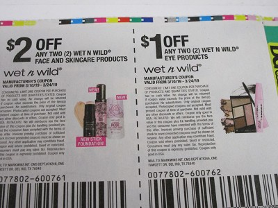 15 Coupons $2/2 Wet n Wild Face and Skincare + $1/2 Wet n Wild Eye 3/24/2019
