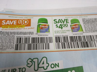 15 Coupons $10/1 Adult Zyrtec 70ct 3/24/2019 + $4/1 Adult Zyrtec 24-45ct 3/30/2019