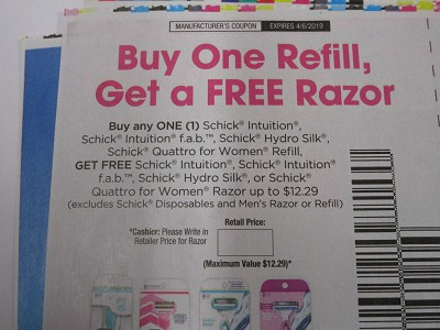 15 Coupons Buy 1 Refill Get a Free Razor Schick Intuition, F A B, Hydro Silk, Quattro for Women 4/6/2019