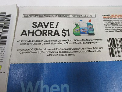 15 Coupons $1/2 Clorox Liquid Bleach, Clean Up , Manual Toilet Bowl Cleaner 5/7/2019