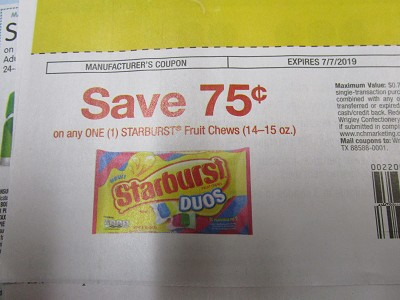 15 Coupons $.75/1 Starburst Fruit Chews 14-15oz DND 7/7/2019