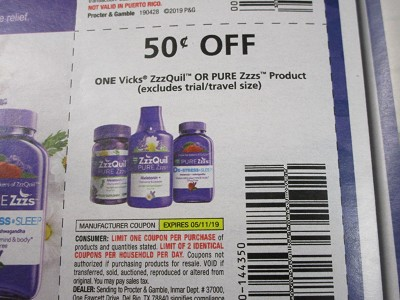15 Coupons $.50/1 Vicks Zzzquil or Pure Zzzs 5/11/2019