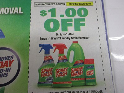 15 Coupons $1/1 Spray n Wash Laundry Stain Remover 6/28/2019