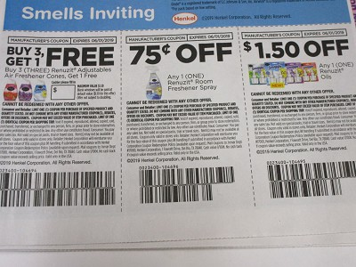 15 Coupons Buy 3 Get 1 FREE Renuzit Adjustables + $.75/1 Renuzit Room Freshener Spray + $1.50/1 Renuzit Oils 6/1/2019