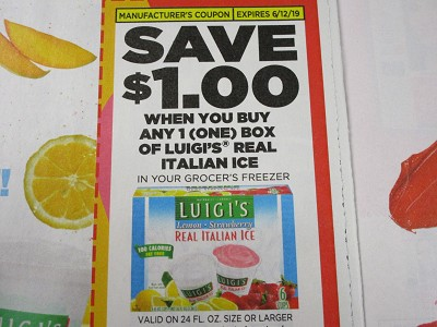 15 Coupons $1/1 Luigi's Real Italian Ice 24oz 6/12/2019
