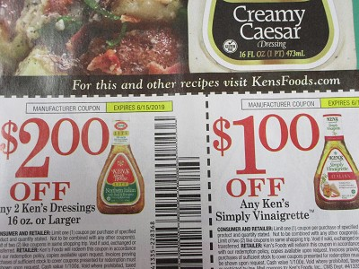 15 Coupons $2/2 Ken's Dressing 16oz + $1/1 Kens Simply Vinaigrette 6/15/2019