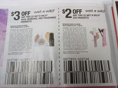 15 Coupons $3/2 Wet n Wild Face Skincare and Fragrance + $2/2 Wet n Wild Eye Products 5/26/2019