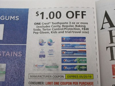 15 Coupons $1/1 Crest Toothpaste 3oz 5/25/2019