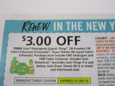 15 Coupons $3/3 Gain Detergents or Fabric Enhancers 1/26/2019