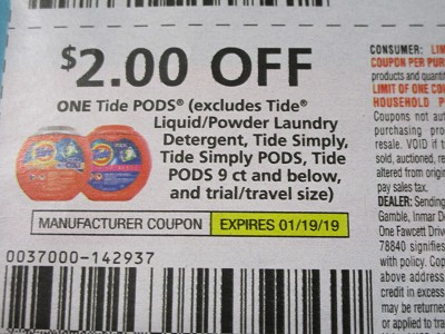 15 Coupons $2/1 Tide Pods 1/19/2019