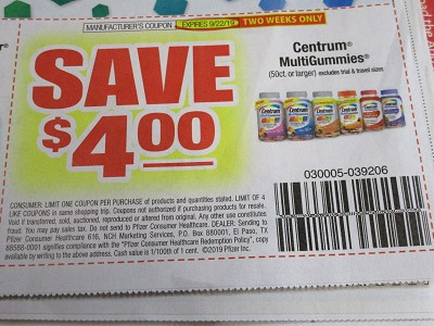 15 Coupons $4/1 Centrum Multigummies 9/22/2019