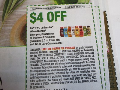 15 Coupons $4/2 Garnier Whole Blends Shampoo Conditioner or Treatment 9/21/219