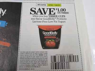 15 Coupons $1/3 Cups GoodBelly Probiotic Lactose Free Low Fat Yogurt 11/9/2019