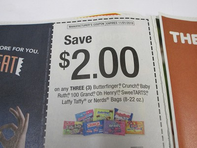 15 Coupons $2/3 Butterfinger Crunch Baby Ruth 100 Grand Oh Henry or Nerd 8-22oz 11/1/2019