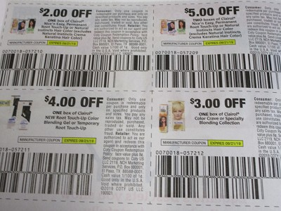 15 Coupons $2/1 Clairol Nice n Easy + $5/2 Nice N Easy + $4/1 Root Touch Up + $3/1 Color Crave 9/21/2019