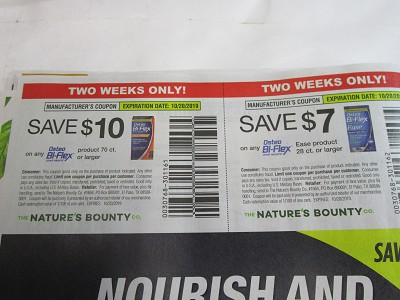 BULK DEAL $10/1 Osteo Bi Flex 70ct + $7/1 Osteo Bi Flex Ease 28ct 10/20/2019 15 Coupons per Batch