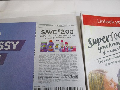15 Coupons $2/2 Snuggle or All Laundry Products 11/17/2019