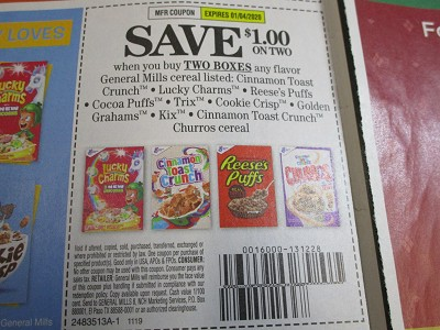 BULK DEAL $1/2 General Mills Cereal Lucky Charms Cinnamon Toast Crunch 1/4/2020 15 Coupons per Batch