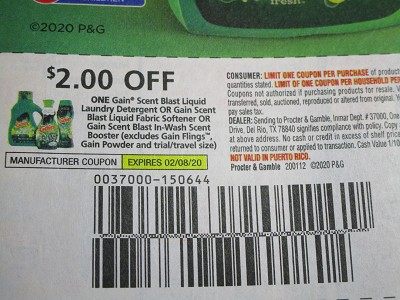 15 Coupons $2/1 Gain Scent Blast Liquid Laundry Detergent 2/8/2020