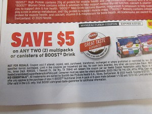 15 Coupons $5/2 Multipack or Canister Boost Drink 6/27/2020