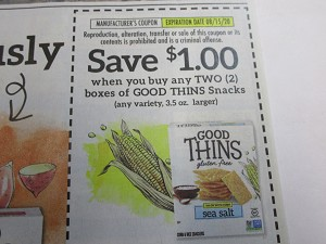 15 Coupons $1/2 Good Thins Snacks 8/15/2020