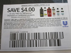 15 Coupons $4/2 Tresemme Shampoo or Conditioner 8/1/2020