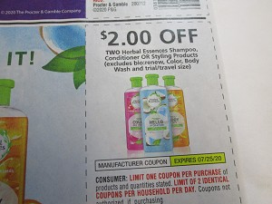 15 Coupons $2/2 Herbal Essences Shampoo Conditioner or Styling 7/25/2020