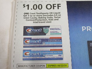 15 Coupons $1/1 Crest Toothpaste or Liquid Gel 3oz 8/22/2020