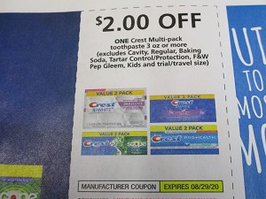 15 Coupons $2/1 Crest Multi Pack Toothpaste 3oz 8/29/2020