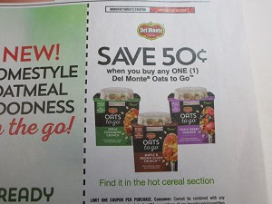15 Coupons $.50/1 Del Monte Oats to Go 10/30/2020
