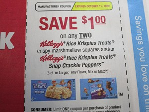 15 Coupons $1/2 Kellogg's Rice Krispies Treats or Snap Crackle Poppers 10/11/2020