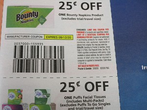 15 Coupons $.25/1 Bounty Napkins + $.25/1 Puffs Facial Tissue 9/12/2020