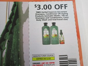 15 Coupons $3/2 Herbal Essences Bio Renew Shampoo Conditioner or Styling 9/12/2020