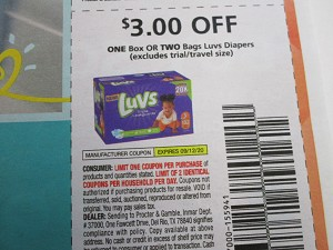 15 Coupons $3/1 Box or Two bags Luvs Diapers 9/12/2020