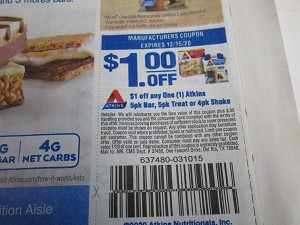 15 Coupons $1/1 Atkins 4pk Bar Treat or 4pk Shake 12/15/2020