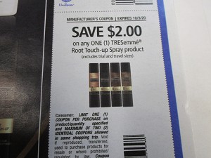 15 Coupons $2/1 Tresemme Root Touch Up Spray 10/3/2020