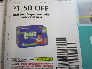 15 Coupons $1.50/1 Luvs Diapers 10/10/2020