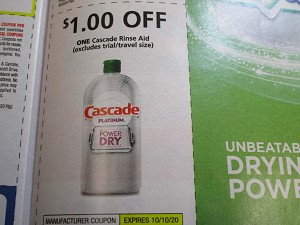 15 Coupons $1/1 Cascade Rinse Aid 10/10/2020