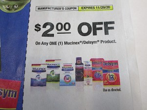 15 Coupons $2/1 Mucinex or Delsym Product 11/29/2020