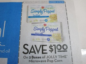 15 Coupons $1/2 Jolly Time Microwave Pop Corn 12/14/2020