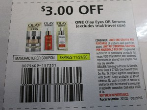 15 Coupons $3/1 Olay Eyes or Serums 11/21/2020