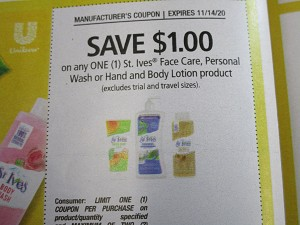 15 Coupons $1/1 St Ives Face Care, Personal Wash, or Hand and Body Lotion 11/14/2020