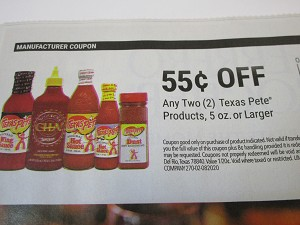 15 Coupons $.55/2 Texas Pete 5oz 2/13/2021