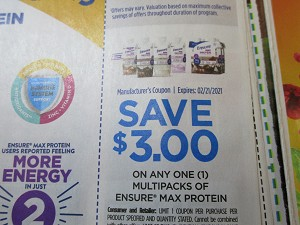 15 Coupons $3/1 Enusre Max Protein Multipacks 2/21/2021