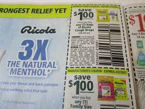 15 Coupons $1/2 bags Ricola Cough Drops + $1/1 Family Size Ricola Cough Drops 45 - 50ct 2/2/2021