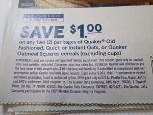 15 Coupons $1/2 Quaker Old Fashioned Quick or Instant Oats or Quaker Oatmeal Squares Cereals 2/21/2021