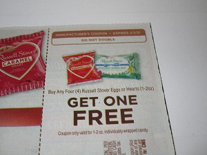 15 Coupons Buy 4 Russell Stover Eggs or Hearts Get 1 FREE DND 2/1/2021