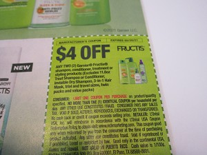 15 Coupons $4/2 Garnier Fructis Shampoo Conditioner Treatment or Styling 2/20/2021