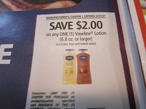 15 Coupons $2/1 Vaseline Lotion 6.8oz 2/27/2021