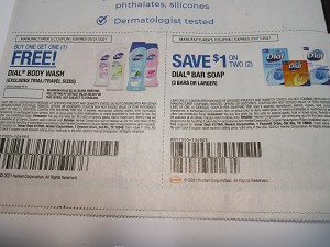 15 Coupons Buy 1 Get 1 FREE Dial Body Wash + $1/2 Dial Bar Soap 3 Bars+ 3/21/2021
